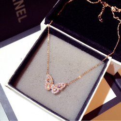 Rose gold over Sterling Silver Butterfly pendant chain necklace Gift Box PE50