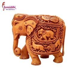 Wooden Elephant Carving Figure, Statue Gifts Hand Carved, Living Room, Bedroom
