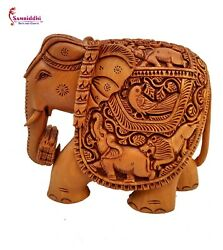 Wooden Elephant Carving Figure, Statue Gifts Hand Carved,living Room, Bedroom