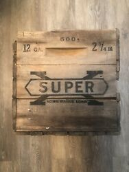 Vintage Western Wooden Ammo Small Arms Western Cartridge Company Crate Super X