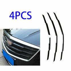 Fit For Cadillac Xts 2018-2020 Front Grille Grill Strips Cover Trim 4x Abs Black