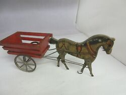 Vintage Wooden 1910 Gibbs Horse And Cart Very Old Toy Works 952