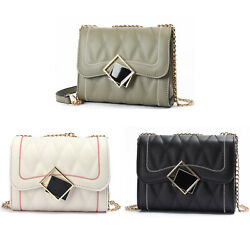 Small Women Chain Satchel Purse Quilted Box Handbag Shoulder Crossbody Bag New $11.39