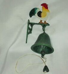 Antique Rooster Cast Iron Wall Mount Dinner Bell Door, Hand Painted And Patina