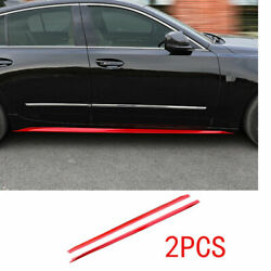 Fit For Cadillac Ct5 2019-2020 Exterior Door Panel Trim Side Skirts 2pcs Abs Red