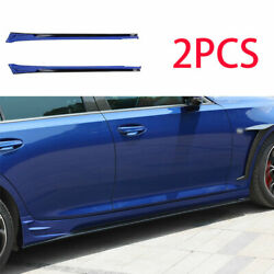 For 2019-2020 Cadillac Ct5 Black Blue Car Side Skirts Extension Spoiler Lip 2pcs