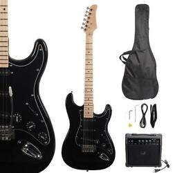 New Beginner Black Electric Guitar Kit With Amp And Accessories