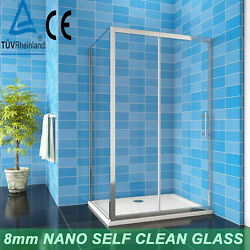 Shower Enclosure Walk In Sliding Door Cubicle Side Panel And Tray 8mm Nano Glass