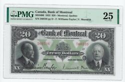 1923 Bank Of Montreal 20 Note Cat 5055606 Sn560536 Pmg Vf-25