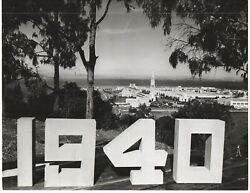 Large 1940 Ggie World's Fair Photo Showing View Of The Fair And 1940