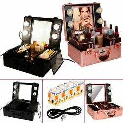 Pro Aluminum Makeup Case Organizer Box Cosmetic Storage Lockable w Light Mirror