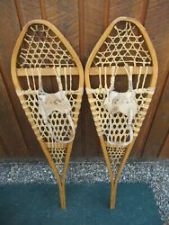 NICE SNOWSHOES 42quot; Long x 12quot; Wide GROS LOUIS Leather Bindings READY TO USE $59.34