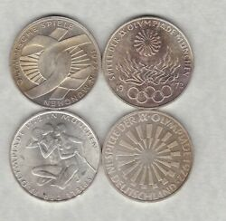 Four German Federal Silver 10 Marks 1972d/1972g And 1972j In Near Mint Condition.