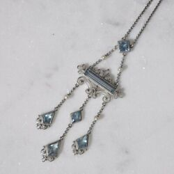 Antique Edwardian Aquamarine And Seed Pearl Chandelier Necklace In 14k Gold
