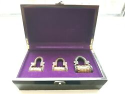 Set Of 3 Antique/vintage Victorian 4 Letters Combination Padlock With Code