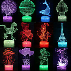 3d Night Light Touch Bedside Lamp 7 Colors Changing Led Lamps Perfect Gifts