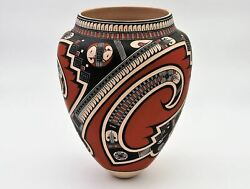 Tavo Silveira Red Black And White Mata Ortiz Pot Comes With Matching Base
