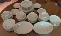 Vintage Wyndcrest China / 54 Pieces / Lenox A500 / Blue Flowers - Taupe Leaves
