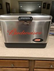 Budweiser Coleman Stainless Steel Cooler Vintage Ice Chest 23x15x16 6150 6155