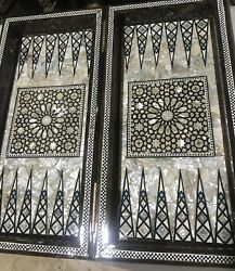 Backgammon Chess Board M12 Beech Wood Inlaid Mother Of Pearl 16.8 Inch