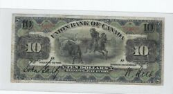 1912 Union Bank Of Canada 10 Note Cat 730-16-08 Sn 010090 No. Above