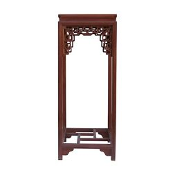 Chinese Light Brown Stain Square Ru Yi Plant Stand Pedestal Table Cs5852