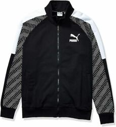 Mens T7 Track Jacket All Over Print French Small, Black-repeat Logo