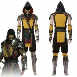 Game Mortal Kombat 11 Scorpion Cosplay Costume Male Outfit Full Set Suit Mask