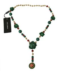 Dolce And Gabbana Necklace Green Red Cabbage Cavolo Crystal Opera Chain Rrp 2800