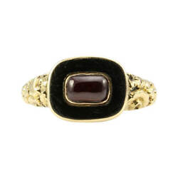 Antique Georgian 15ct Gold Garnet And Onyx Mourning Ring
