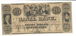 20 New Orleans Two Maidens Cherub Louisiana Canal And Banking Company 18xx 2