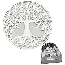 Mirror Tree of Life 20cm Mirrored Glass Decorative Display Round Candle Plate