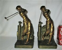 Antique Jennings Brothers Usa Huge Size Golf Club Art Statue Sculpture Bookends