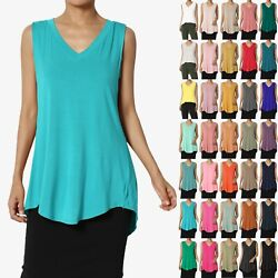 Themogan S3x Essentials Luxe Jersey V-neck Relaxed Fit Sleeveless Tunic Top