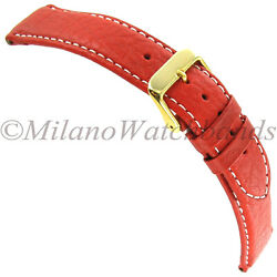19mm Debeer Red Genuine Sport Leather Padded Contrast Stitched Mens Band Reg
