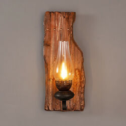 Rustic Vintage Wood Wall Light Cafe Bar Sconce Glass Shade Wall Lamp Fixture