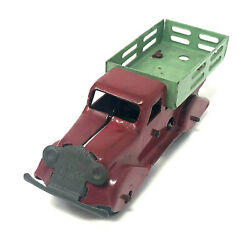 Vintage Red And Green Stake Truck, Wind-up, Pressed Steel, Pre-war