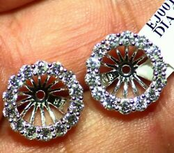 14k Gold Natural Round Diamond Halo Engagement Earring Jackets 8mm Vintage Deco