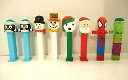 Lot Of 8 Pez - 6 Holiday Christmas And 2 Mighty Marvel Klik Dispensers 4d
