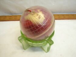 Vintage Globe Coin Bank In Green Depression Glass Ashtray World
