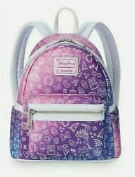 Disney Parks Loungefly Pink Purple Park Icons Ombre Mini Backpack Brand New $99.95