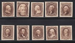 Us 102-111tc4c 1875 Re-issue Brown Trial Color Proof Card Complete Xf H Scv900