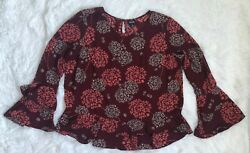 A.n.a Ana Peasant Floral Flower Wine Red Pink Bell Ruffle Sleeves Key Hole