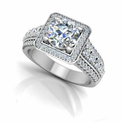 Solid 950 Platinum Round Cut 1.02 Ct Real Diamond Engagement Ring Size 4 5