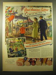 1950 Swift's Premium Table-ready Meats Ad - American Customs A Day At The Fair