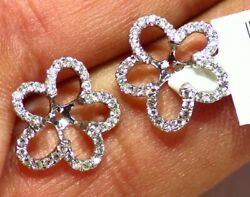 14k Gold Natural Round Diamond Halo Engagement Earring Jackets 5.5mm Vintage