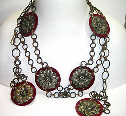 Vintage Art Deco Red Celluloid With Brass Flower Overlay Belt Necklace Antique