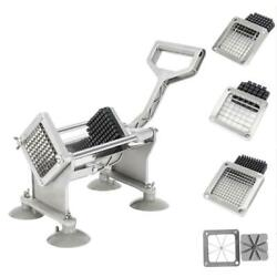 Commercial Potato French Fry Fruit Vegetable Cutter Slicer 4 Blades Cups Kitchen