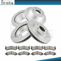 Fits 03-06 Chevy Tahoe 4wd Dril Slot Front And Rear Brake Discs Rotor Ceramic Pad
