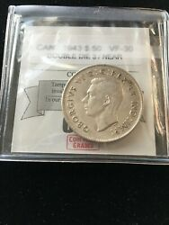1943 Dbl Die Near 3 Coin Mart Graded Canadian Silver 50 Cent Vf-30
